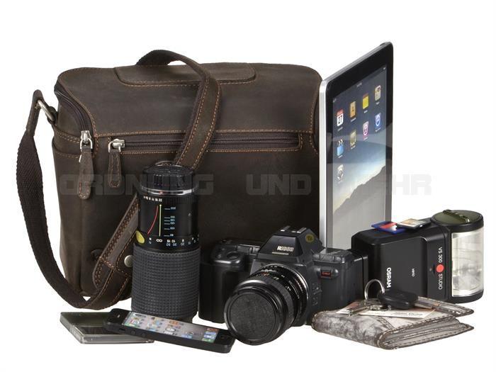 Leder Kameratasche Fototasche braun Videotasche Umhängetasche L-15 Kalahari