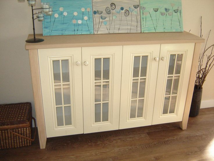 a cabinet that a local joiner put together for us by putting legs and a top and capping the sides.  This was originally two kitchen cabinets that we got for free off a friend who was changing their kitchen.  Since this photo it has been finished.
