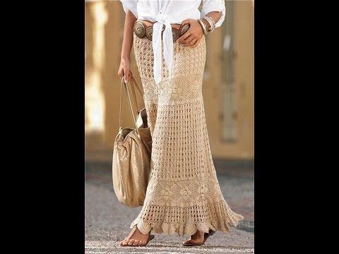 How to crochet maxi skirt free pattern tutorial by marifu6a - YouTube