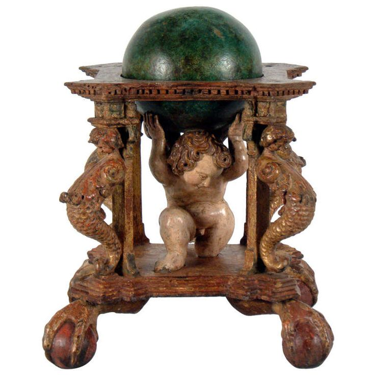18th Century Italian Carved and Polychromed Wood Celestial Globe | From a unique collection of antique and modern decorative objects at http://www.1stdibs.com/furniture/more-furniture-collectibles/decorative-objects/