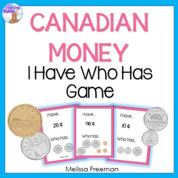 """This """"I Have Who Has"""" game is a part of my  Canadian Money Unit for Grade 2.  It is a fun way to practice counting Canadian coins! Contains 24 cards.For a math center using iPads, you may like Canadian Money Task Cards Using QR Codes"""