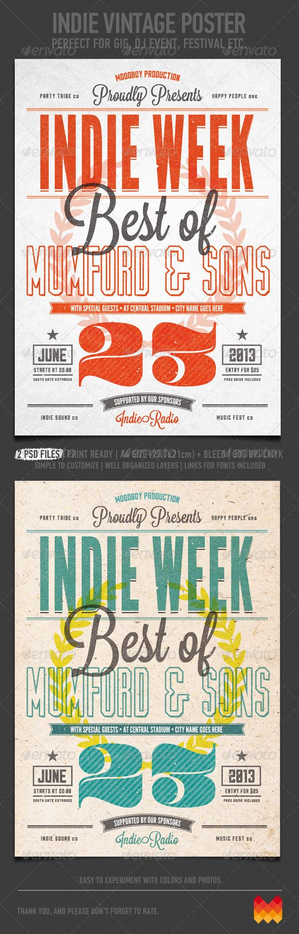 Indie Vintage Flyer/Poster - Flyers Print Templates
