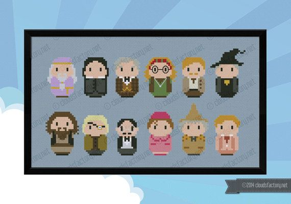 This is a parody, an inspirational cross stitch pattern of the movie series Harry Potter, that features all the Hogwarts pofressors: Albus