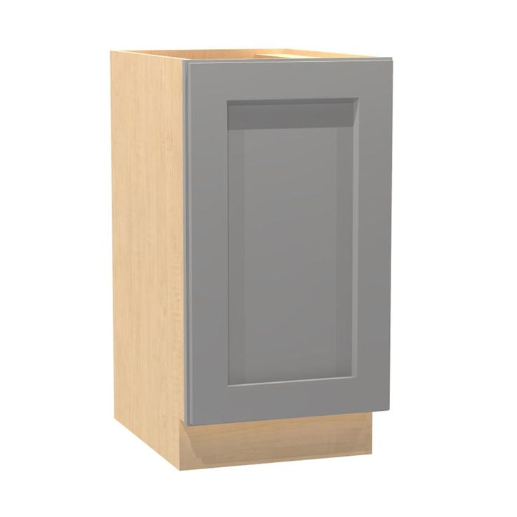 18x34.5x24 in. Tremont Assembled Base Cabinet with 2 Waste Baskets and 1 Soft Close Door in Pearl Gray, Gray Painted