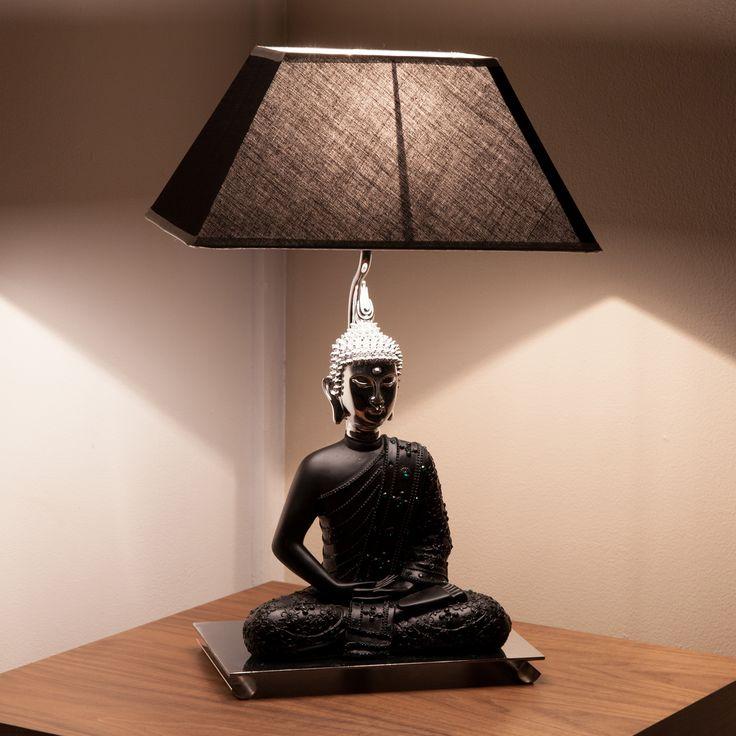 Epic Lampe poser en r sine avec abat jour tissu hauteur cm Bouddha