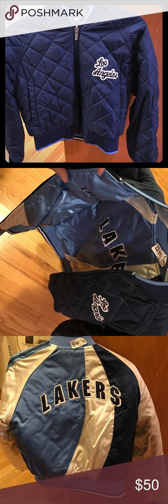 Los Angeles Lakers jacket Trendy bomber jacket with LA LAKERS in shades of blue. Perfect condition. Beautiful jacket. Still has dry clean ticket attached. Wore a couple times. Jackets & Coats