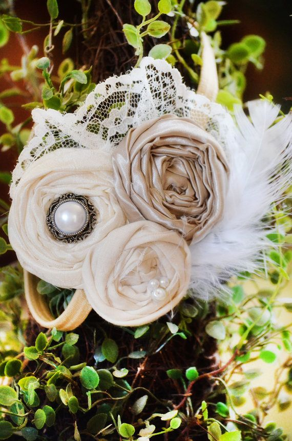 Flower Girl Headband Vintage Headband Champagne by KrumpetsDesigns, $24.50