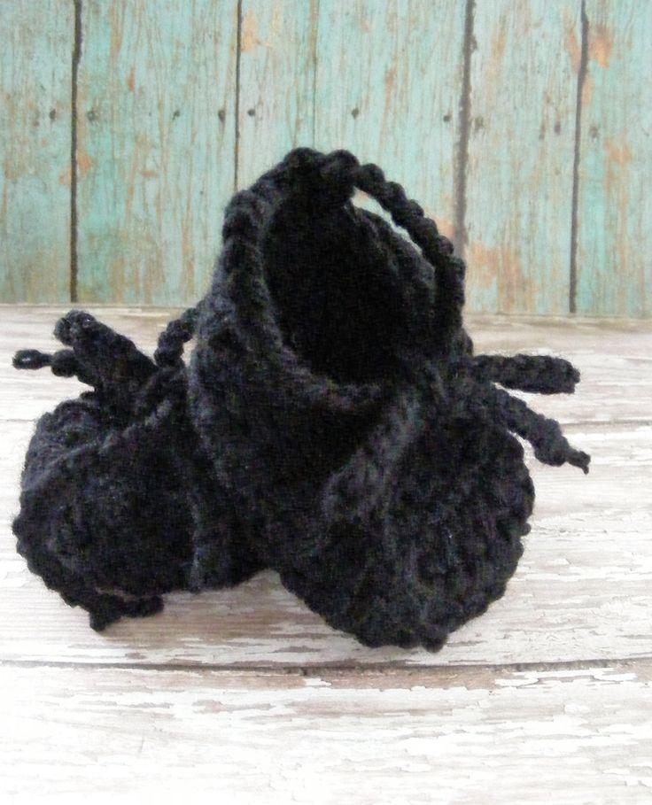Black Crochet Ballet Baby Booties, Ballet Slipper Booties, Infant Girl Booties, Girl Baby Gift, Crochet Booties, Baby Shoes, Lace up Booties by meiguidesigns on Etsy