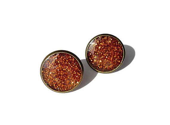 Auburn stud earrings glitter sparkle tiny stud resin earrings by treasurecreator, $12.00