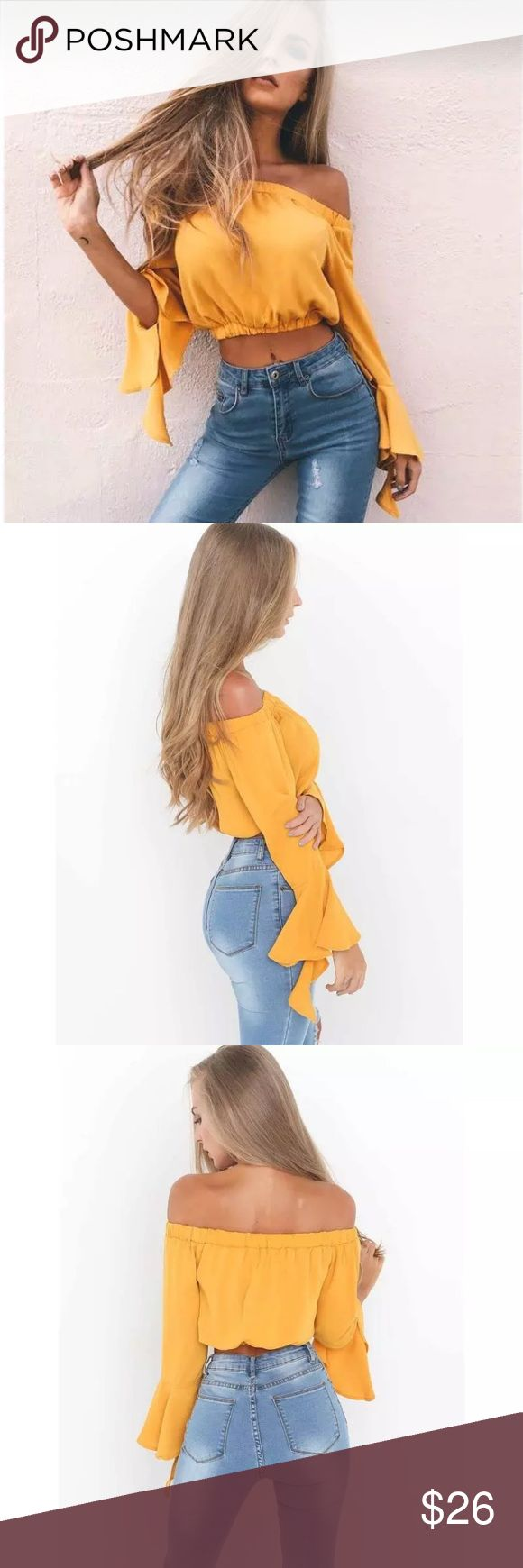 Off Shoulder Yellow Crop Top Off Shoulder Yellow Crop Top with Flowy Sleeves Tops Crop Tops