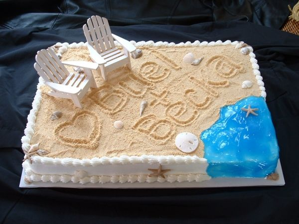 "Beach Theme Bridal Shower Cake - Love this! Great for shower for Bride/groom going to Hawaii, Aruba, or another beachy area. (But wondering what the ""sand"" is ... brown sugar? crushed graham crackers?)"