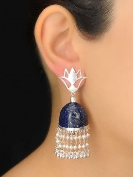 Pair of Blue-White Lapiz-Pearl Silver Earrings Stone jhumka