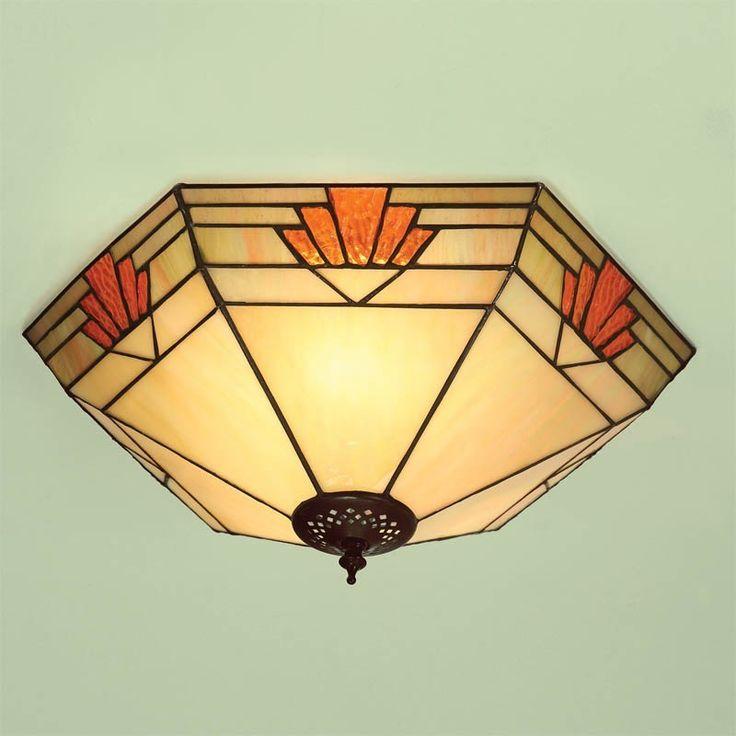 Plafoniera Tiffany / lampada da Soffitto Tiffany Gialla e Arancione