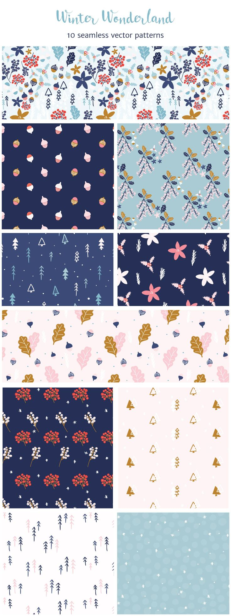 Winter Wonderland is a collection of 10 hand drawn floral patterns with a winter holiday feel.