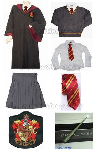 Free Shipping Harry Gryffindor Hermione Granger Cosplay Robe Cloak Skirt Uniform Wand Custom Made for Halloween and Christmas