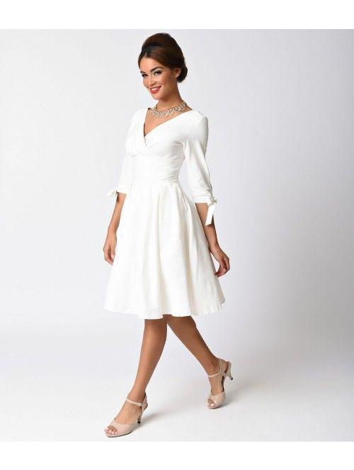 Unique Vintage 1950s Style White Three-Quarter Sleeve Diana Swing Dress