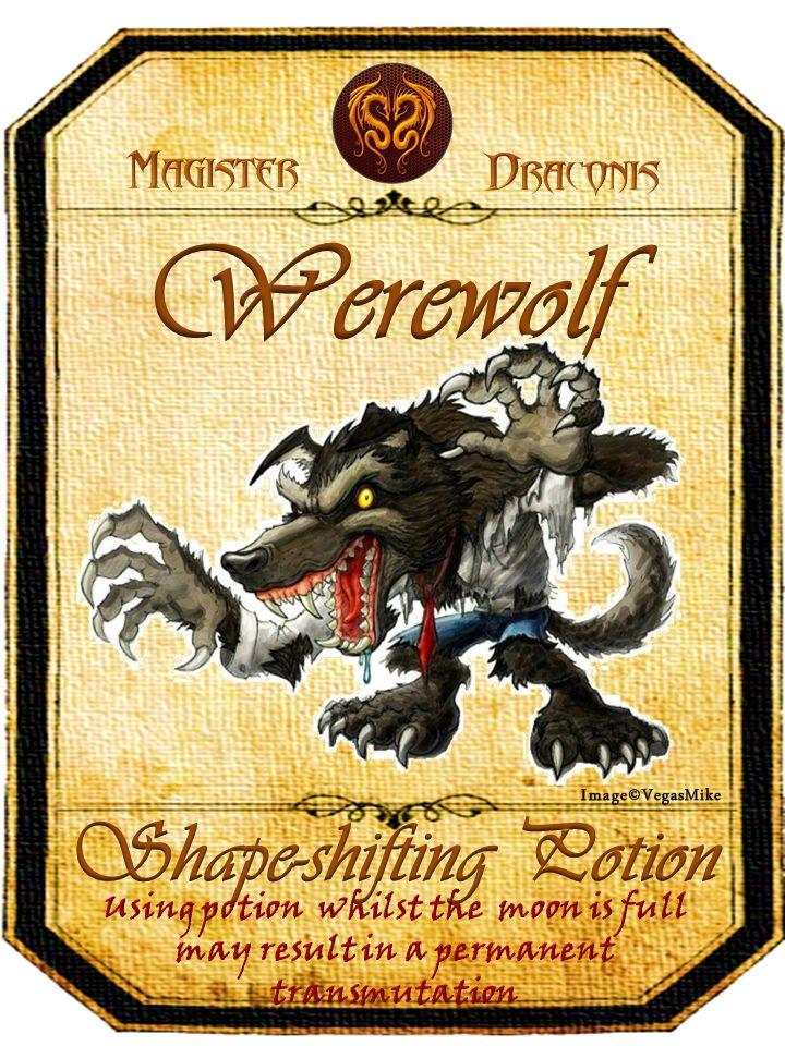 Halloween Werewolf Potion Label
