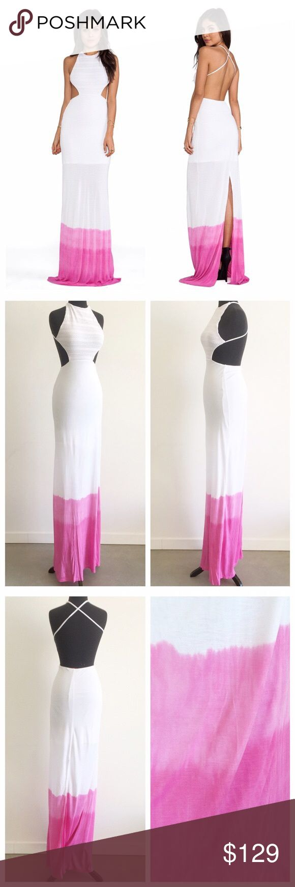 """woodleigh • sydney pink ombre backless maxi dress Sexy backless cutout maxi dress features knit top, dip dye ombre effect skirt, and open back with criss cross straps. Elastic at waist. Partially lined with half skirt. back slit. Top has a sweater knit appearance in very very pale pink and is lined.   • size S -- best for those with smaller busts due to coverage  • neckline to hem approx 68"""" in length  • top: 51% cotton, 58% poly, 1% spandex 