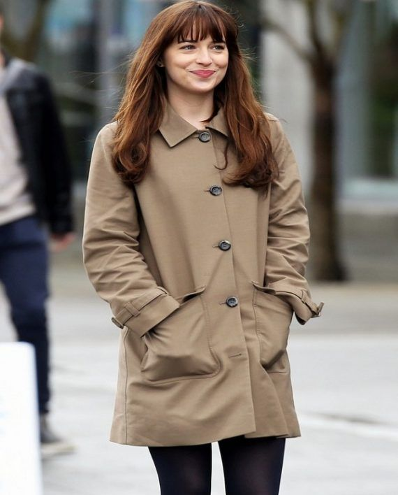 e464d0f23a1 Dakota Johnson Fifty Shades Darker Stylish Beige Coat