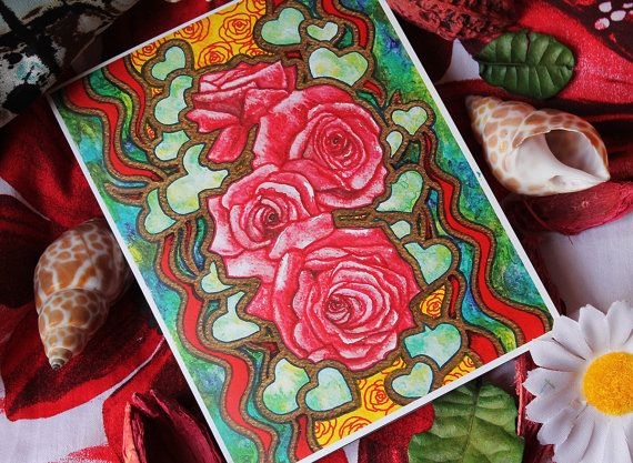 Red Roses Greeting Card / Unique card design and vibrant colors will make your gift special and always worth holding on to!