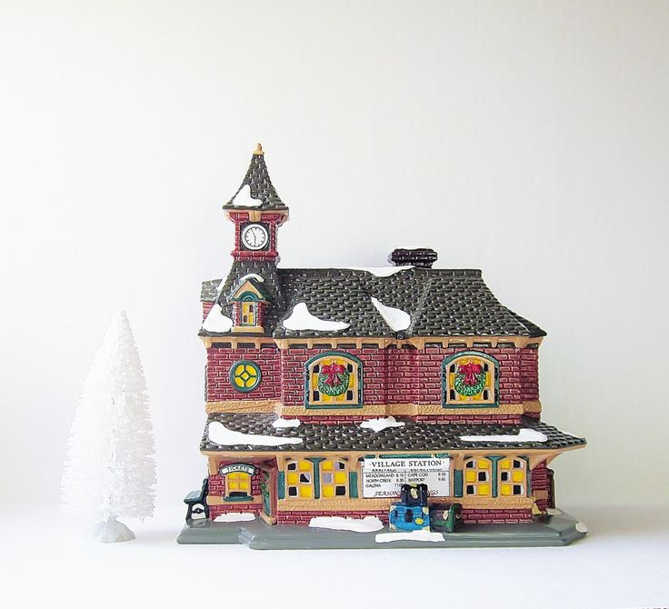 Village Station Dept 56 Snow Village 1992, Lighted Ceramic House, Vintage Holiday Home Decor, Christmas Display, Train Set Accessory - pinned by pin4etsy.com