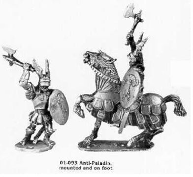 Ral Partha's 01-093 Anti-Paladin: Mounted and on foot.