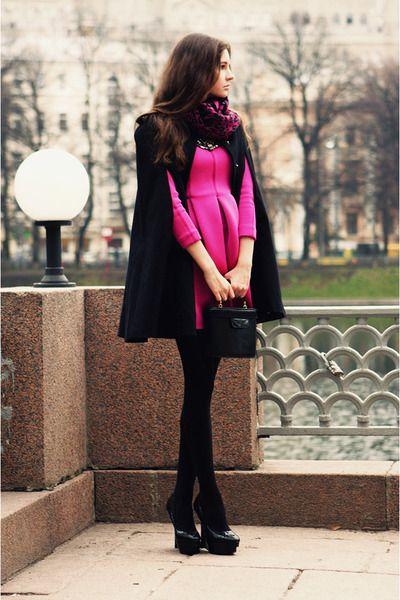 black vintage bag - hot pink StyleMoi dress