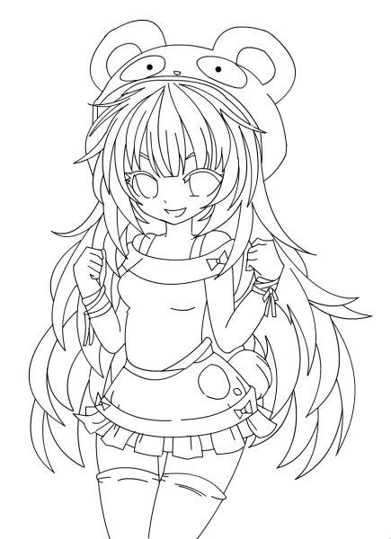 Line Art Girl : Panda girl lineart by rampaig linearts pinterest