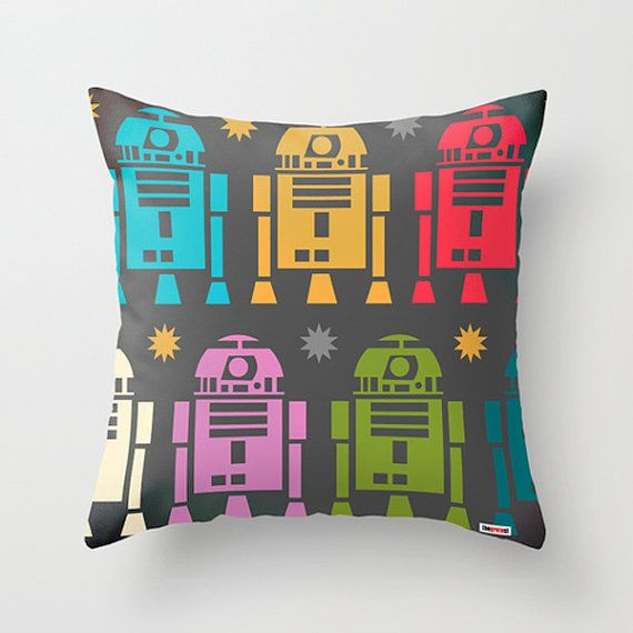 Robot Decorative throw pillow cover - R2D2 pillow cover - Star wars pillow - toddler pillow case - Kids bedding -Modern pillow