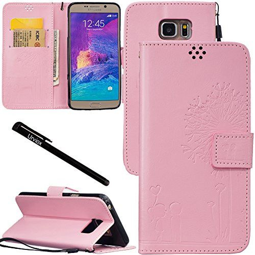 Urvoix Galaxy Note 5 Case, Credit Card Holder Leather Cover Embossed Romantic Dandelion Folio Case for Samsung Galaxy Note5 N920, Pink