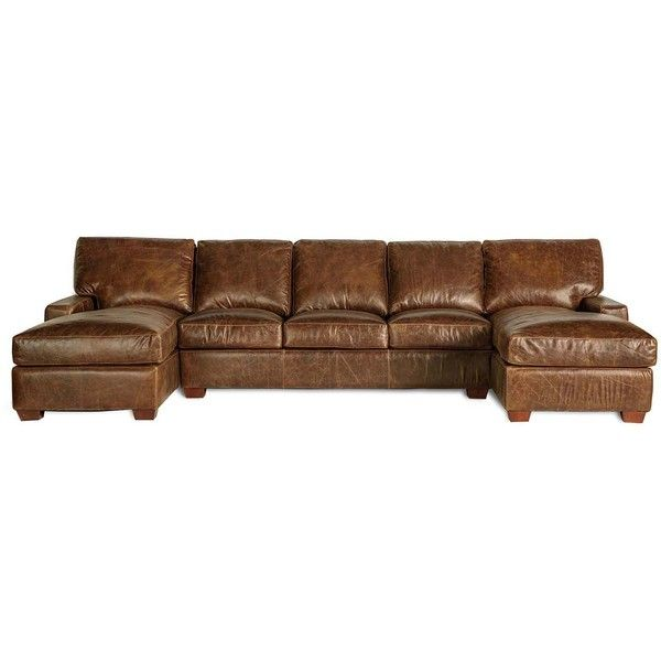 Restoration Vintage Leather Craftsman Full-Grain Leather Sectional... ❤ liked on Polyvore featuring home, furniture, sofas, leather sofa, leather couch, craftsman furniture, leather furniture and grain leather sofa