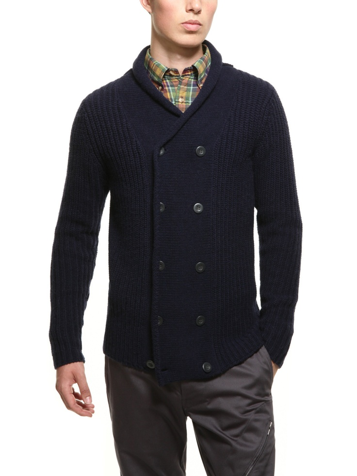 Double Breasted Cardigan (Navy)  GANT Rugger- this would look good on Brett.