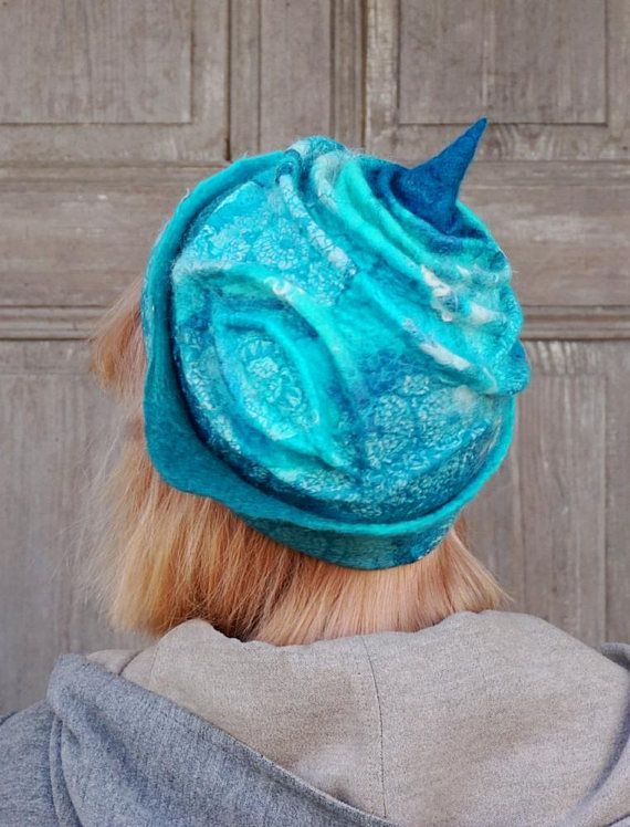 Nuno felted hat turquoise blue felt hat sculptural woman