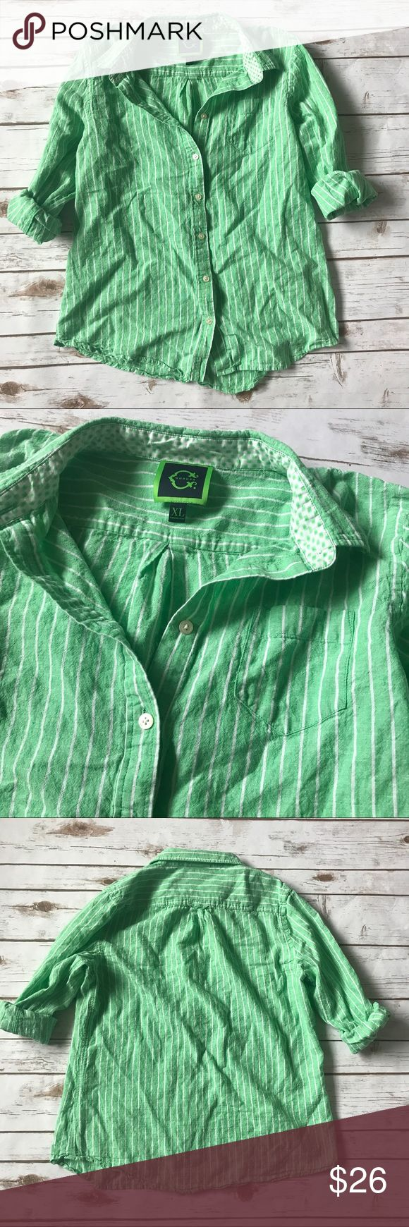 C WONDER Button Down with Green & White Stripes C. Wonder top with green and white stripes. Size XL. Roll up sleeves or wear down. Sold at C Wonder stores and QVC. C Wonder Tops Button Down Shirts