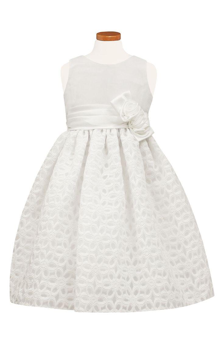 White Flower Girl Dress - Floral Burnout Fit & Flare Dress