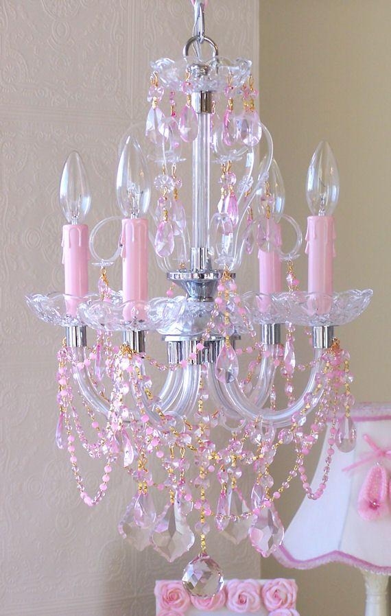 Pink Chandelier Crystals: 25+ best ideas about Pink Chandelier on Pinterest | Pink princess room,  Girls chandelier and Pink furniture,Lighting