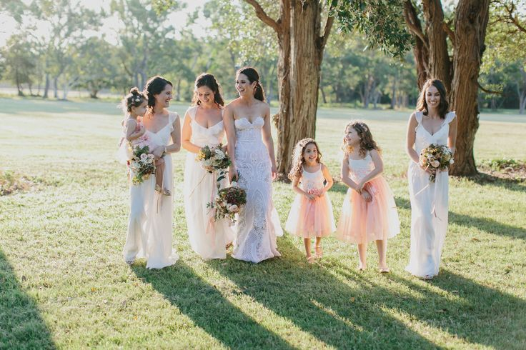 Bridal party in soft neutral tones #ivory #soft #peach #flowergirls