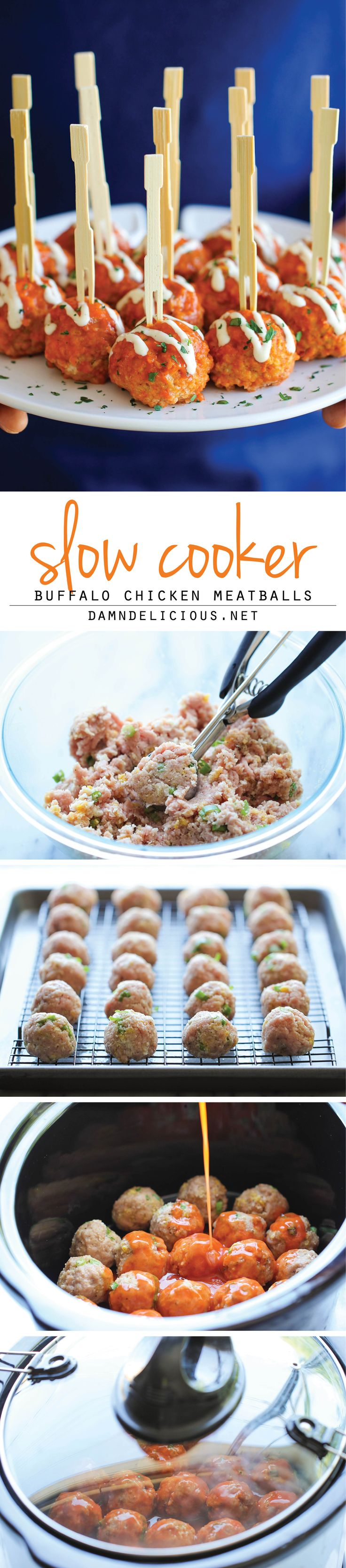 Slow Cooker Buffalo Chicken Meatballs - A lighter, healthier alternative to buffalo wings that you can make so easily right in the slow cooker! Minus the pano and blue cheese