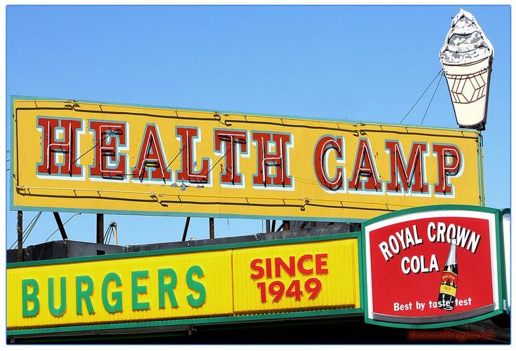 Health camp since 1949 neon food health taste testing