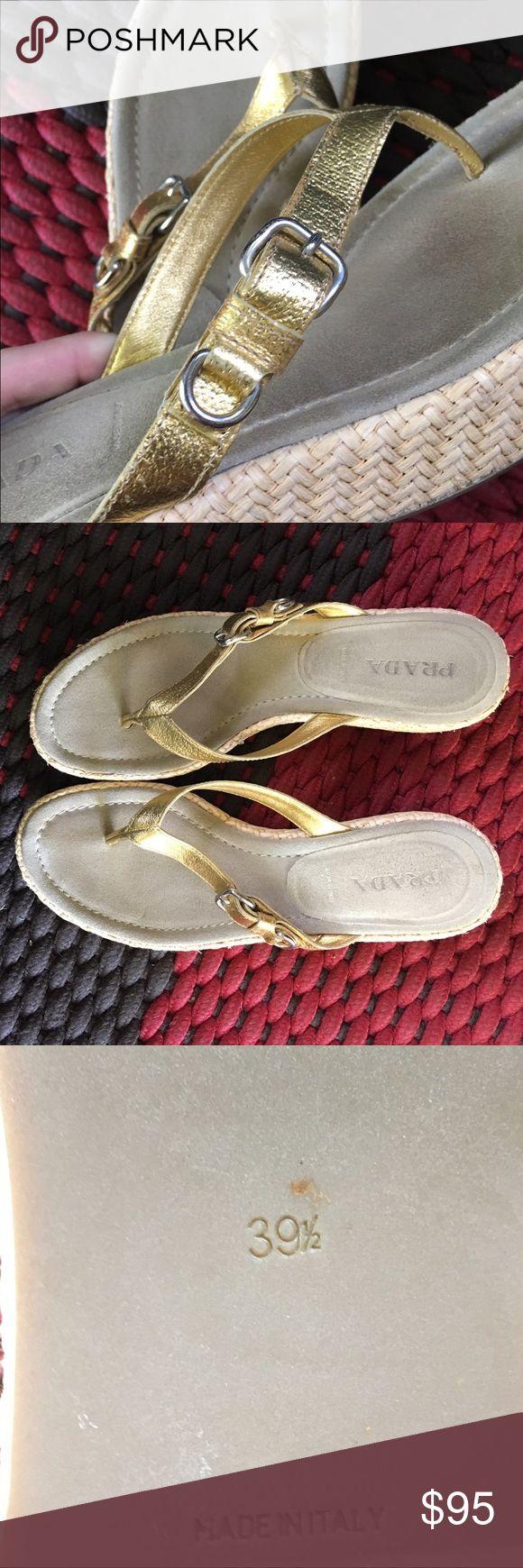 Prada Wedge Flip flops Super cute! Gently preloved. 💥ON SALE💥 Prada Shoes Wedges