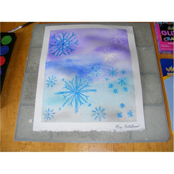 winter art lesson | Snowflake Elementary Artwork: A Lesson on Snow Globe Painting and ...