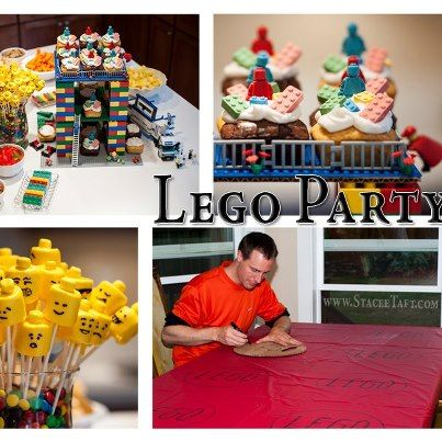 My son's 11th birthday party... Lego style! {with help from my husband creating a custom Lego table cloth}