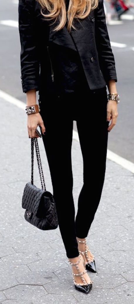 For the jacket and the bracelets.   Chanel bag & Valentino shoes   Street Chic.