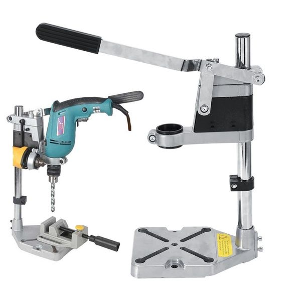 Electric Drill Stand Bench Drill Press Stand Double Clamp Base Frame Drill Holder With Drill Press Vice Drill Holder Drill Press Stand Electric Drill