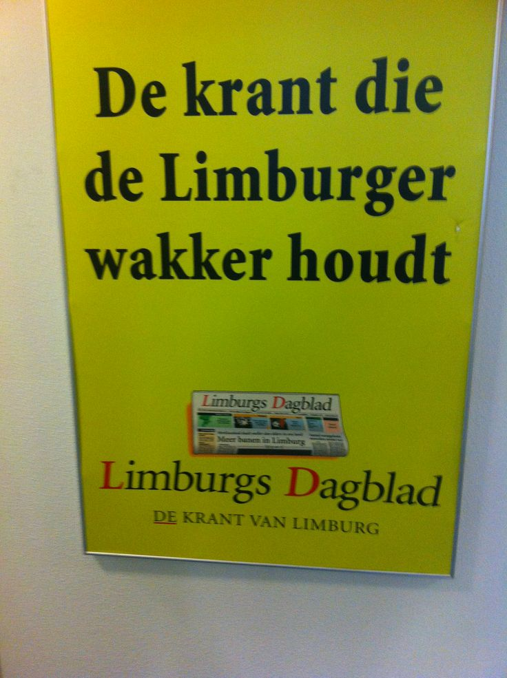 Limburgs Dagblad. Sterk: Opvallende kleur. Zwakte: Vreemde locatie (Utrecht) voor Limburgs Dagblad