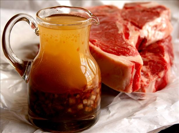 Marinade for the perfect grilled porterhouse steak. For my Valentine.