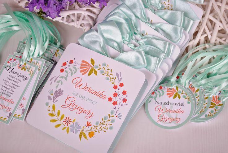 Fontanessi - Wesele na głowie: Zaproszenia Sielskie Wianki Zaproszenia ślubne, miętowe