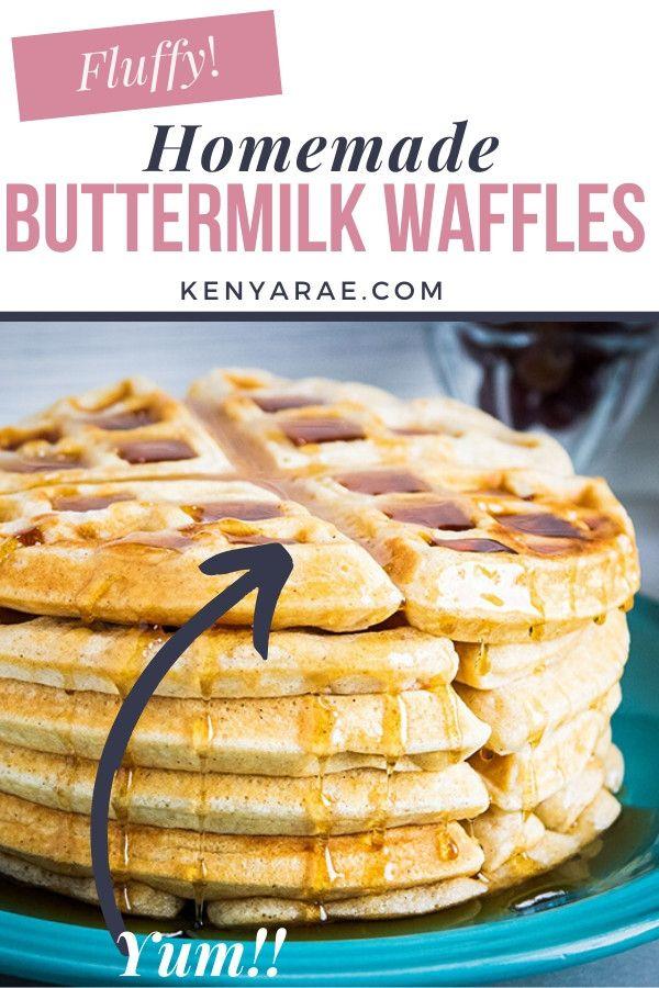 Fluffy Crisp Homemade Buttermilk Waffles Recipe In 2020 Buttermilk Waffles Homemade Buttermilk Homemade Recipes
