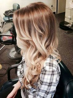 Beautiful blonde ombre, fading from dark blonde to lightest platinum.