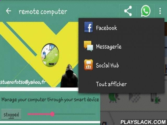 Remote Desktop Over Android Android App - playslack.com , With Remote Desktop Over Wifi, handle your presentation (Power Point ...) Edit your documents via publishers offline (Word, Excel and PowerPoint, ...), and even online publishers (Office 360, Google docs ...) Play your favorite games (EA Need for Speed, FIFA 2014, FIFA 2015, Failed, Damier, etc.); Navigate to your social networks Google  , Facebook, Twitter; Check your email (Gmail, Yahoo, etc.): This is the remote control of yo...